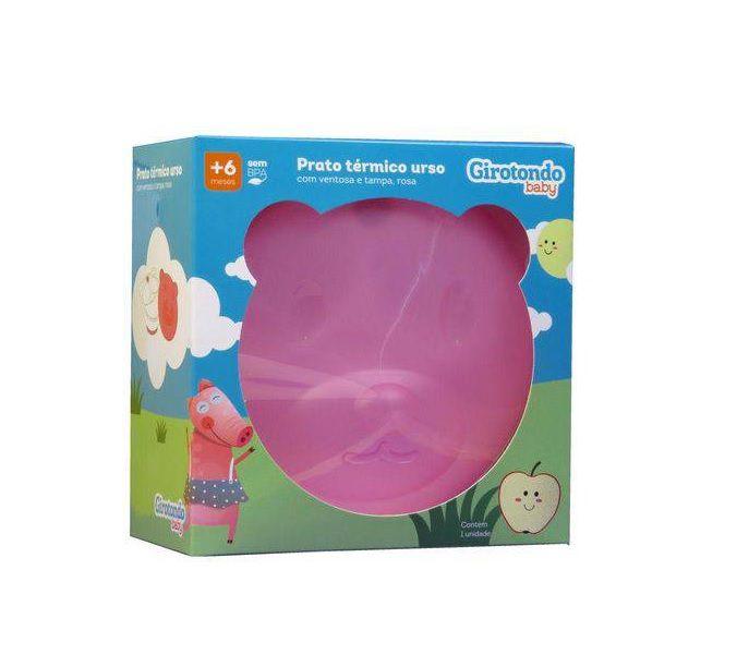 Prato Térmico com Ventosa Urso Rosa - Girotondo Baby