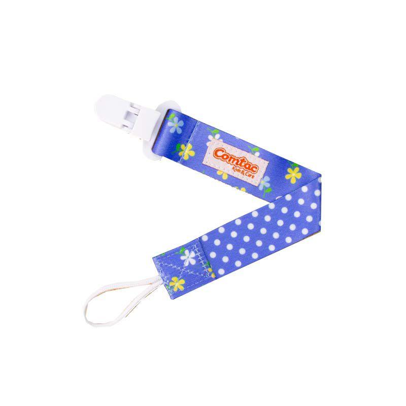Prendedor de Chupeta Azul Florido - Comtac Kids