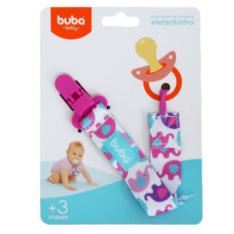 Prendedor de Chupeta Elefantinhos Rosa - Buba Baby