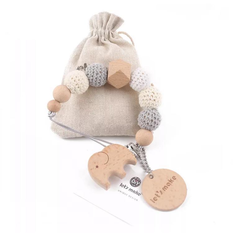 Prendedor de chupetas Crochê Elefantinho - Let's make