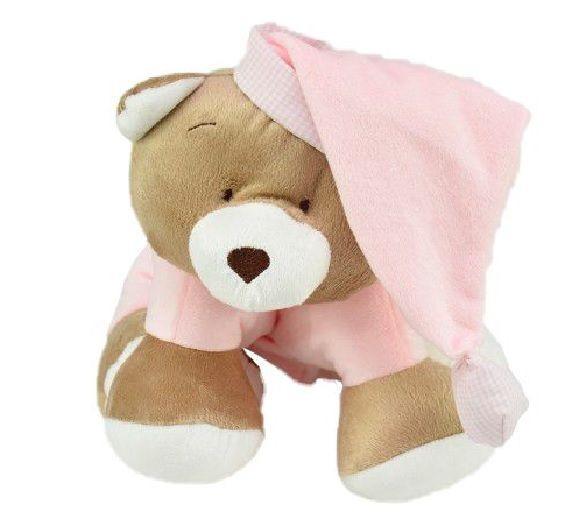Puppet Travesseiro de Bebe Urso Nino Rosa - Zip Toys