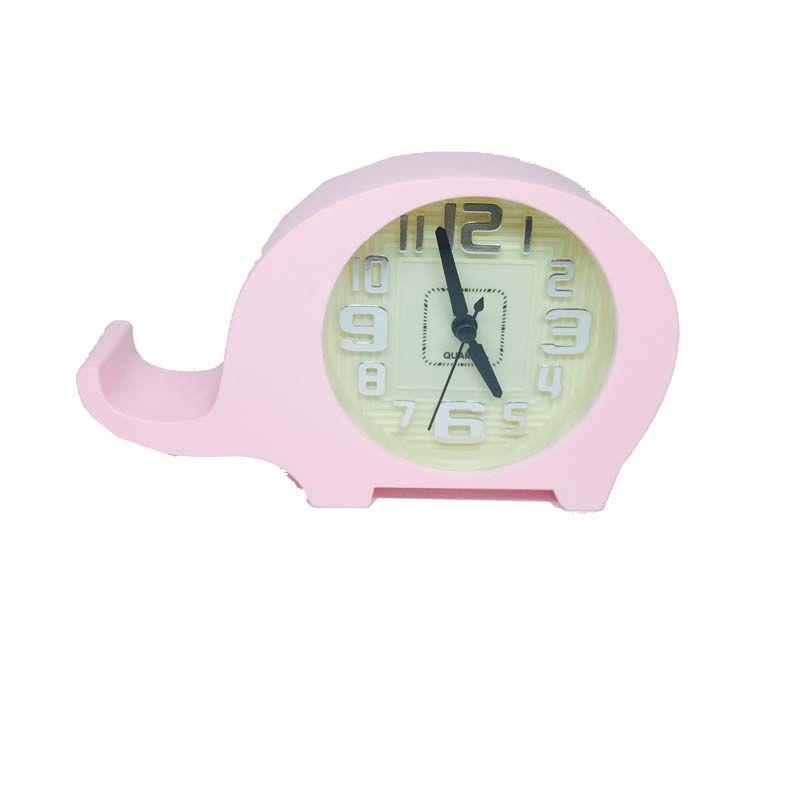 Relógio de Cabeceira Rosa - Elefantinho - Baby