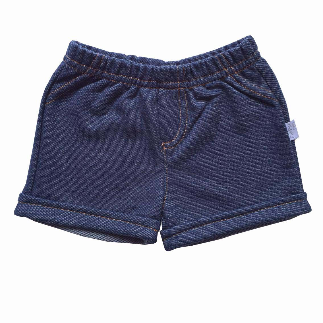 Shorts Malha Jeans Menina - Piu Piu - Tamanho P