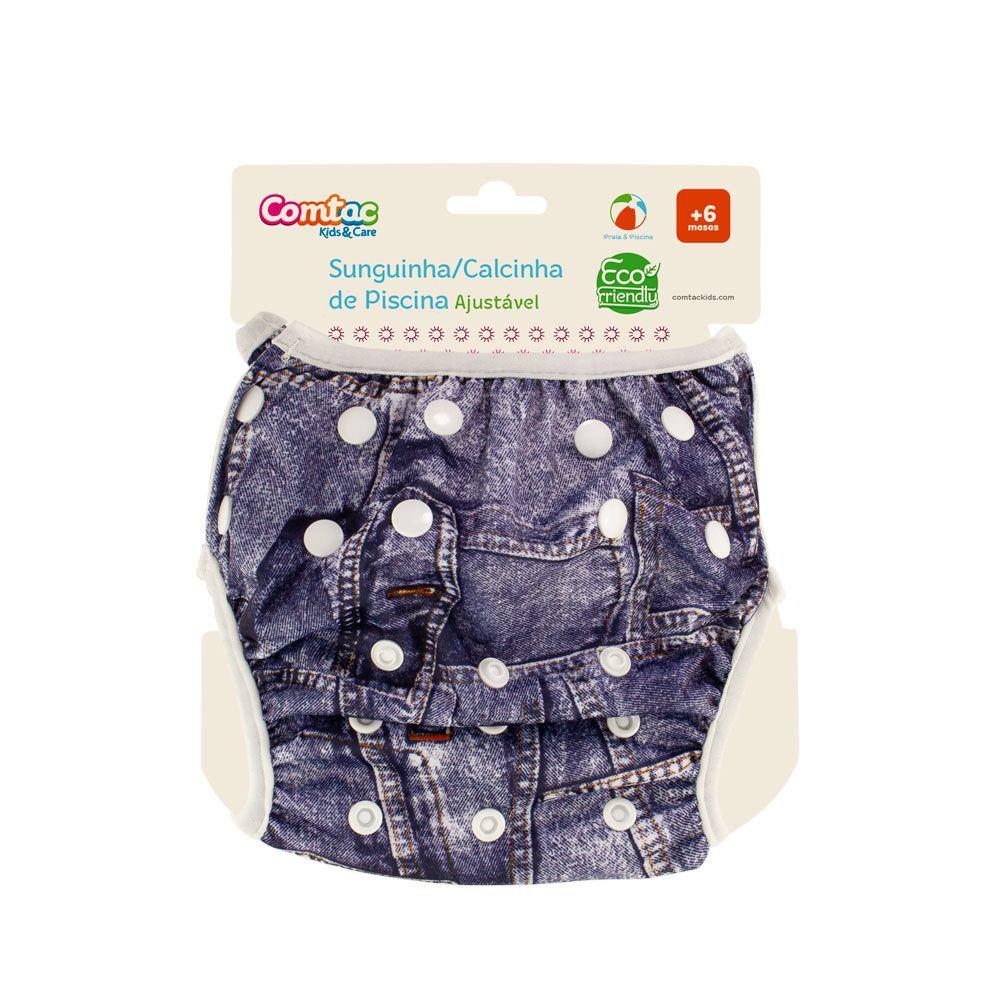 Sunguinha com Fralda Reutilizável Ajustável Jeans  - Comtac Kids