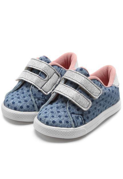 Tênis Infantil Pesh com Velcro Duplo - Jeans Poá