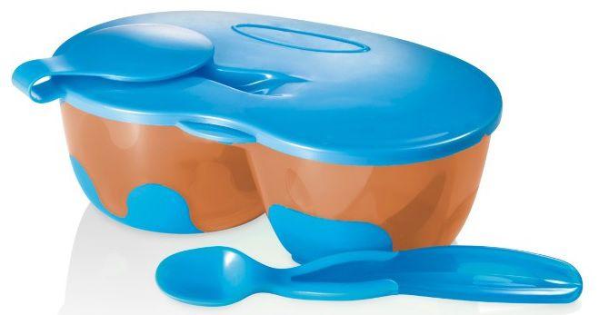 Tigela com Divisórias e Colher Azul - Multikids Baby