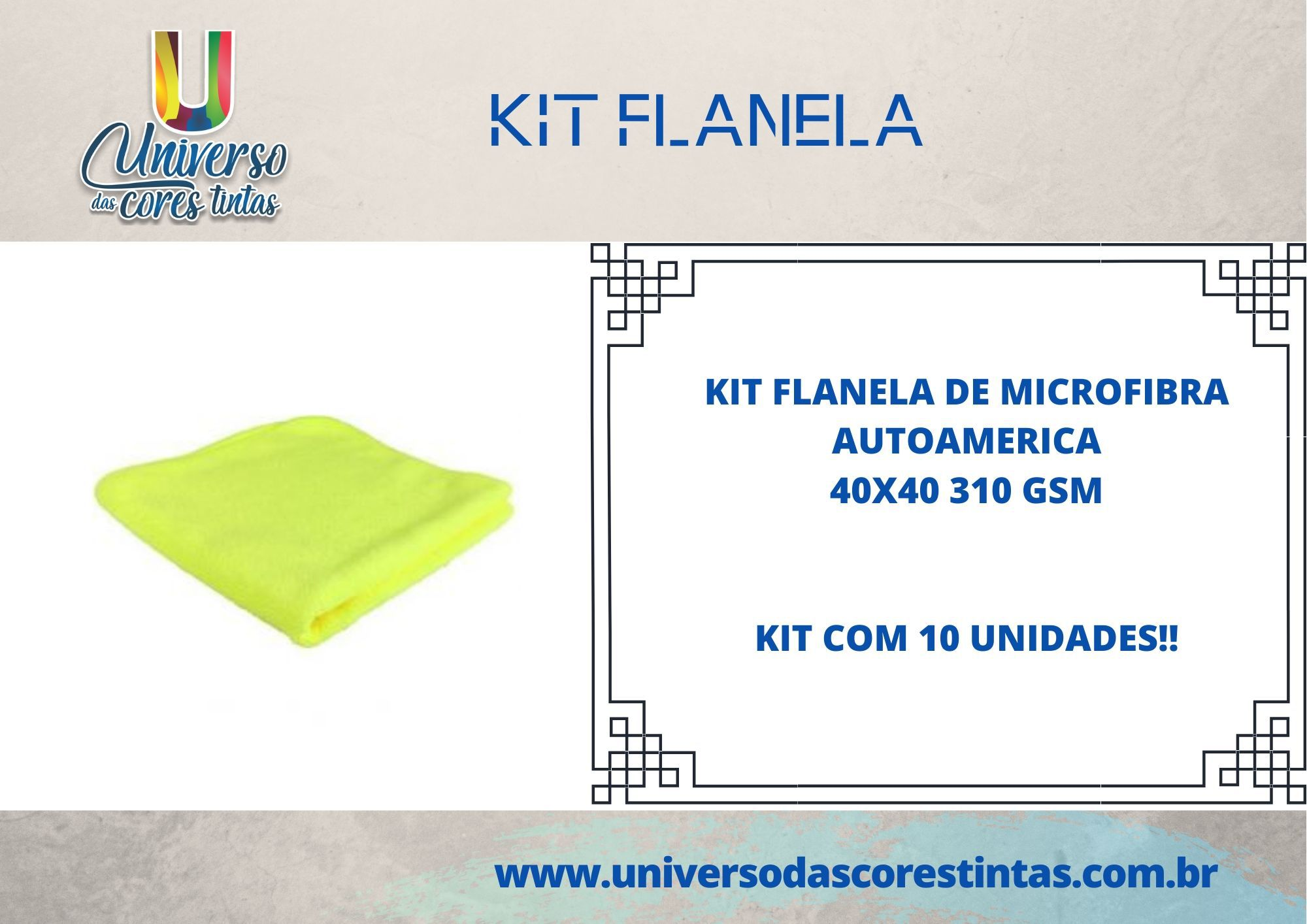 Kit de Flanela de Microfibra 40x40 310 GSM Autoamerica (10 Unidades)