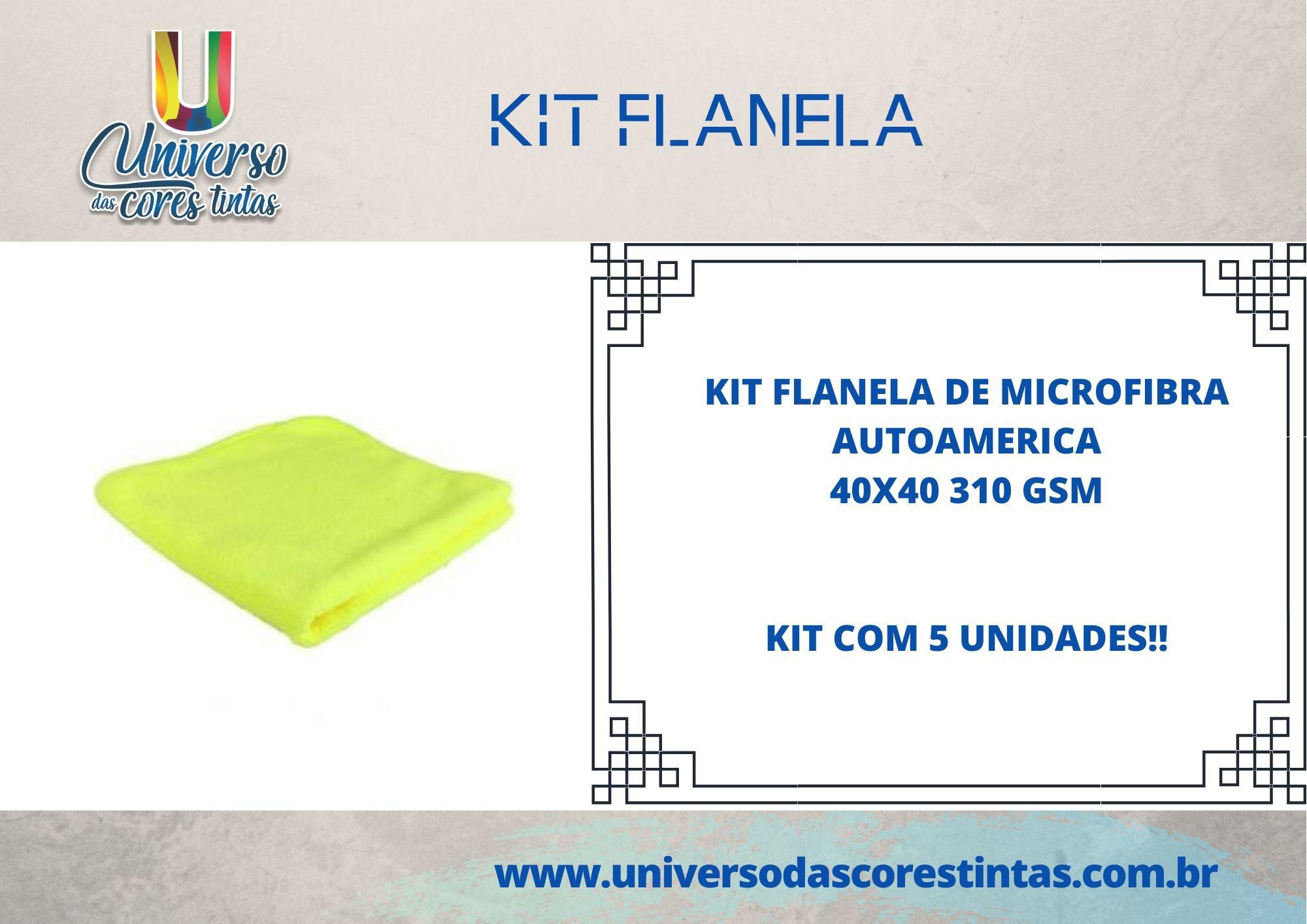 Kit de Flanela de Microfibra 40x40 310 GSM Autoamerica (5 Unidades)