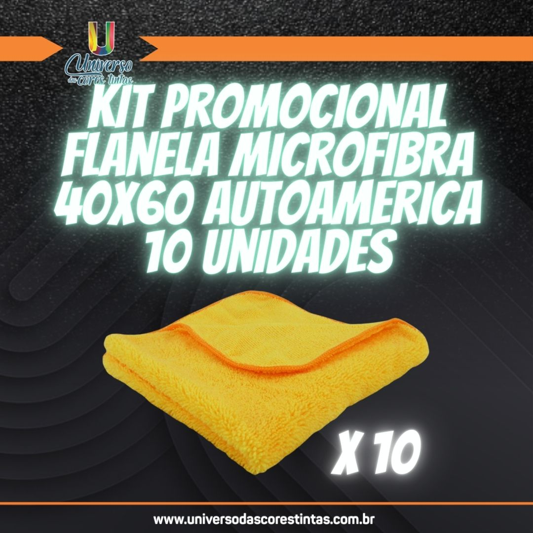 Kit de Flanela de Microfibra 40x60 350 GSM Autoamerica (10 Unidades)