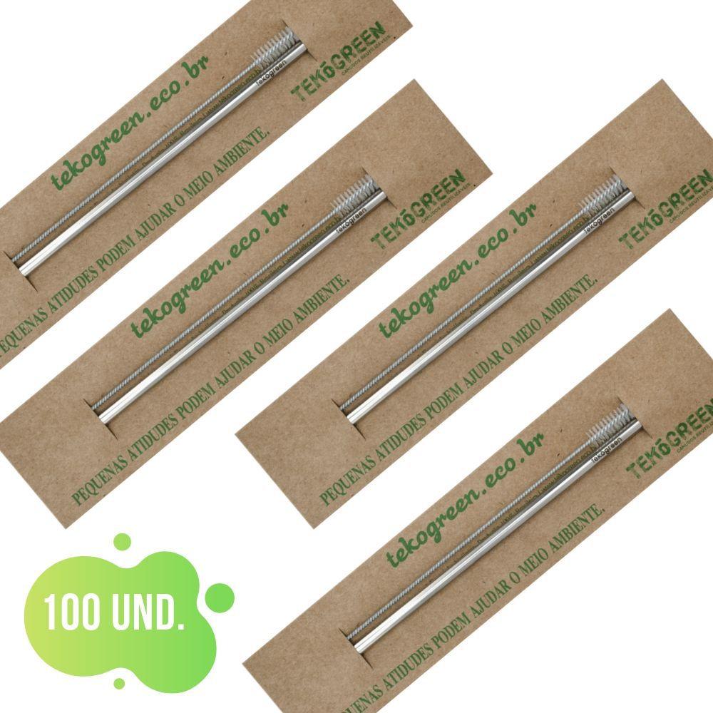 100 Canudo Eco Com Escovinha De Limpeza