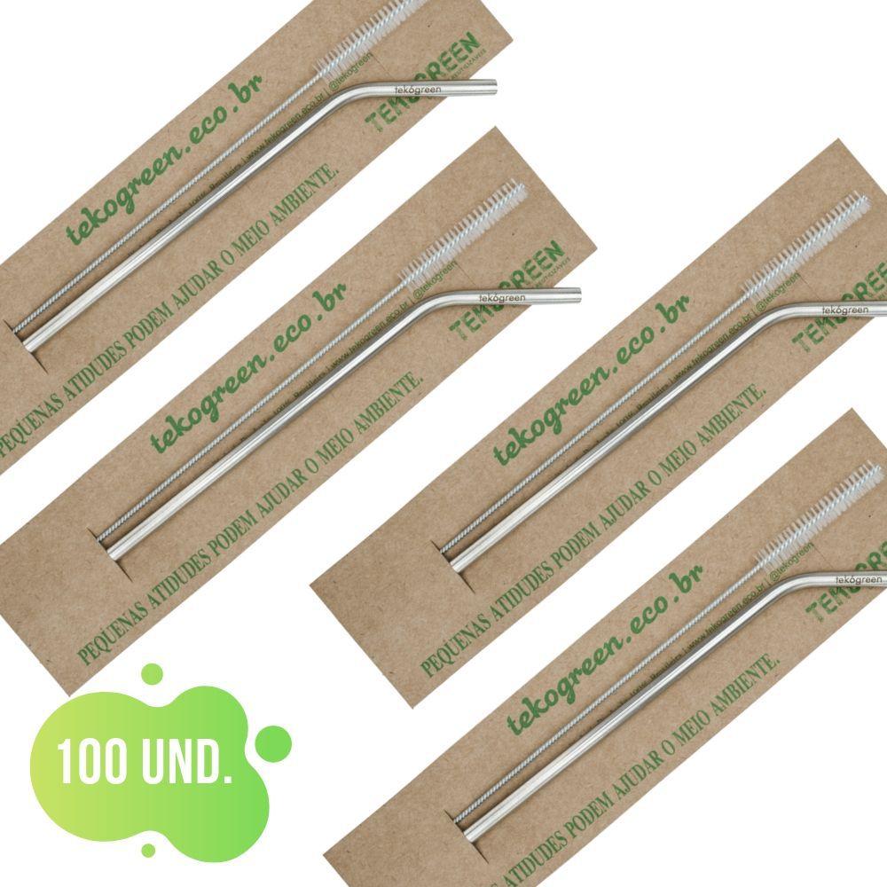 100 Canudo Eco Curvo Com Escovinha De Limpeza