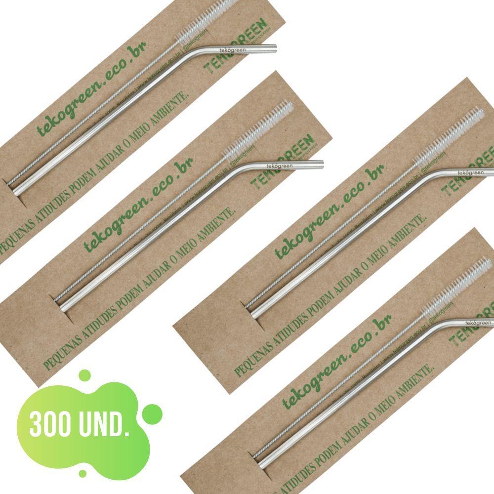 300 Canudo Eco Curvo Com Escovinha De Limpeza