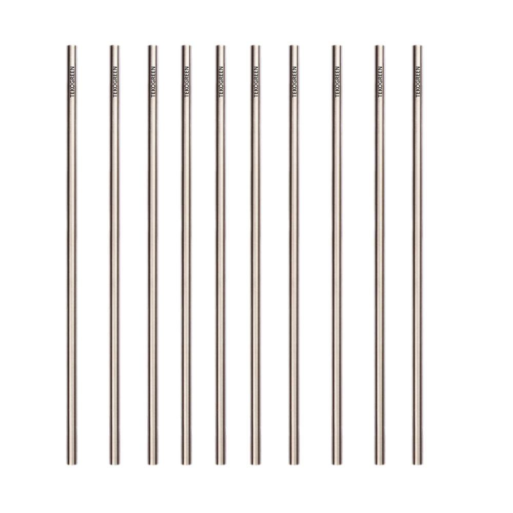 KIT 50 CANUDOS DE INOX RETO TEKÓGREEN - Ø0,6CM X 22CM