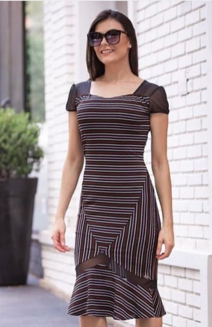 Vestido Luciana Pais Em Lurex Com Listras Coloridas