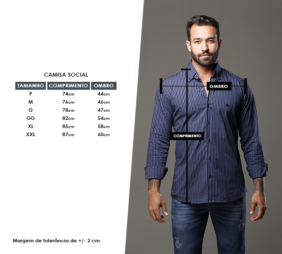 Camisa Manga Longa Listrada Milano Marinho