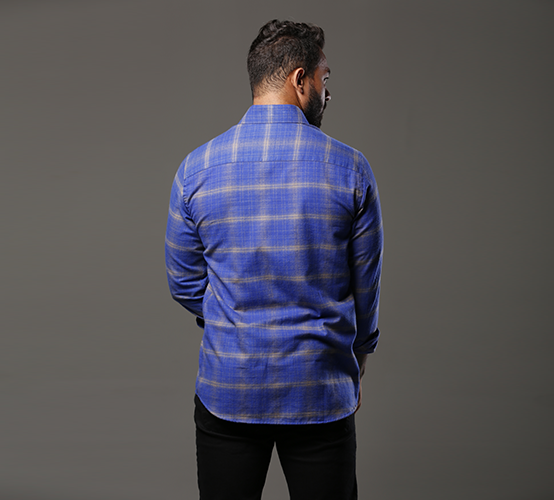 Camisa Manga Longa Xadrez Azul