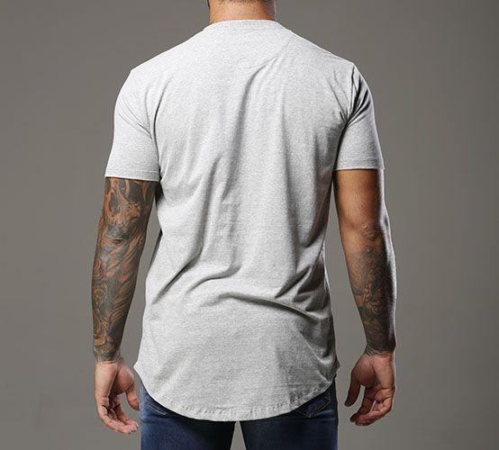 Camiseta Mescla Clara Long