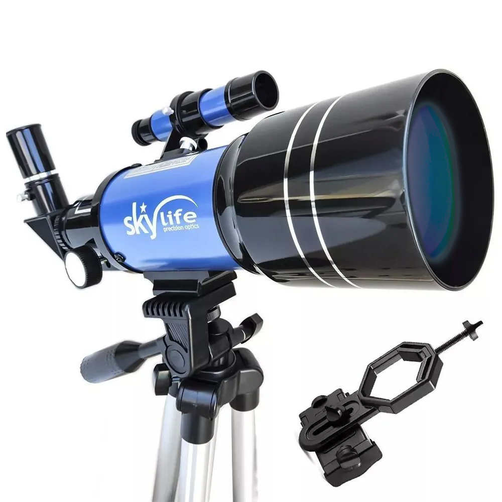 Kit Telescópio SkyLife 70mm Tycho Pro + Adaptador Celular Adtx