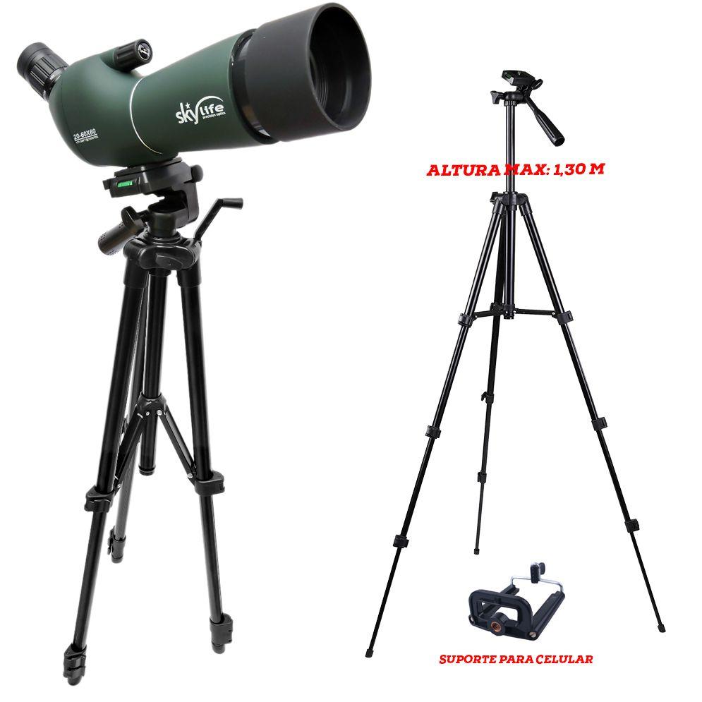 Kit Luneta 60mm Skylife 20-60x60 WR Force XT + Tripé Alto Delta