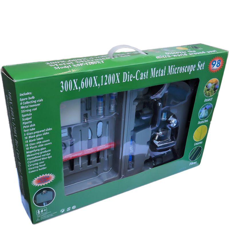 Microscópio Skylife XSP-1200XT Kit 98 Pcs Maleta Luxo 300x, 600x, 1200x