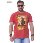 Camiseta Masculina Ox Horns Vermelho Mescla - 1156