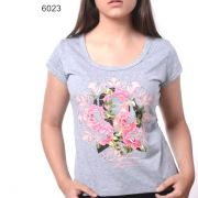 T-Shirt Ox Horns  Cinza/Rosas- 6023