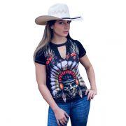T-Shirt Ox Horns Preta Caveira - 6061
