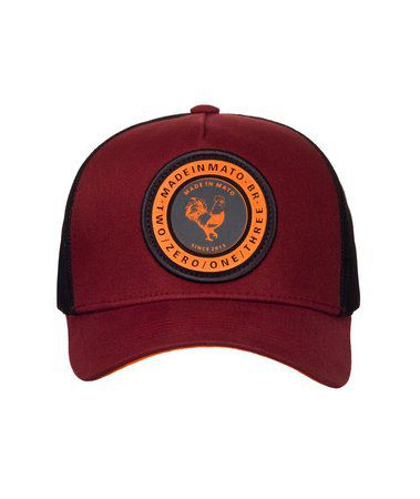 Boné Made In Mato Trucker Marsala Patch Laranja + 3 Brindes - B1627