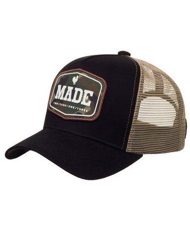Boné Made In Mato Trucker Military Preto + 3 Brindes - B1728