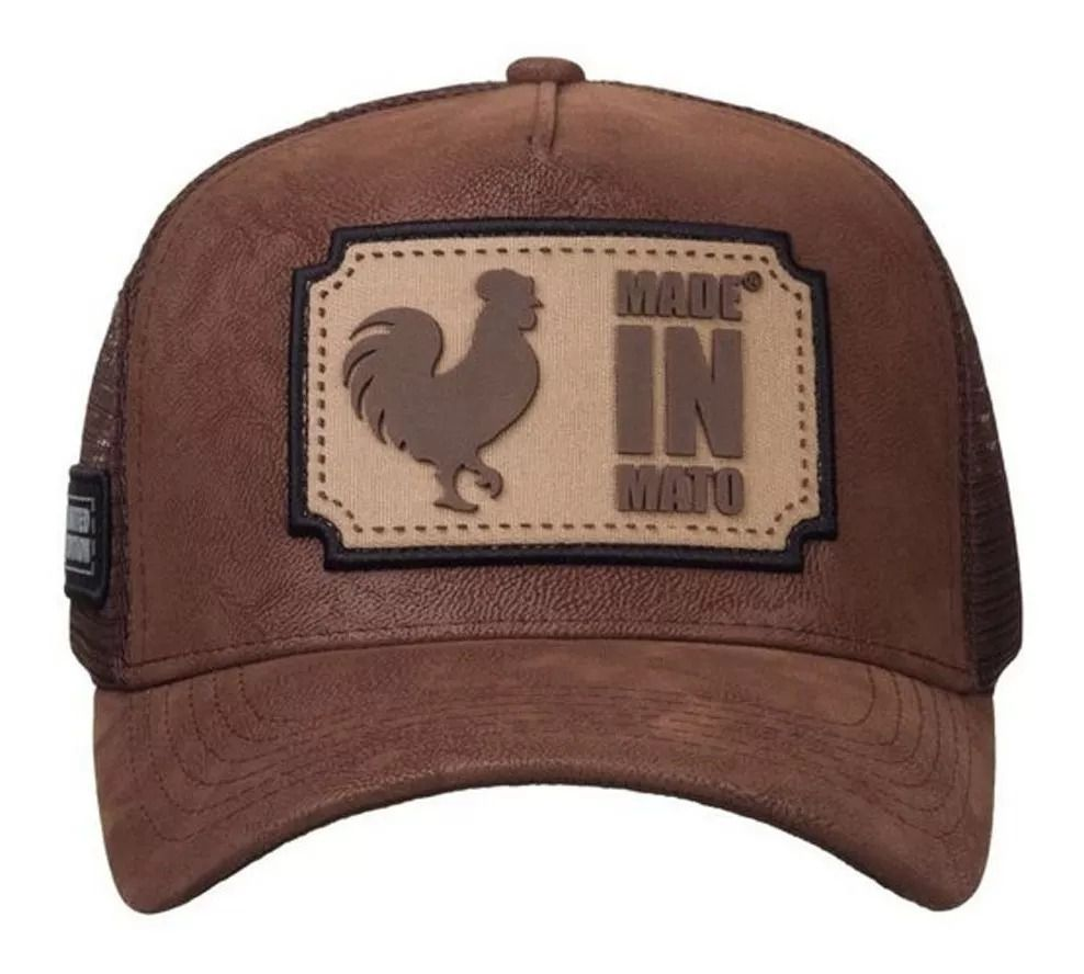 Boné Made In Mato Trucker Nobuck Brown + 3 Brindes - B1714