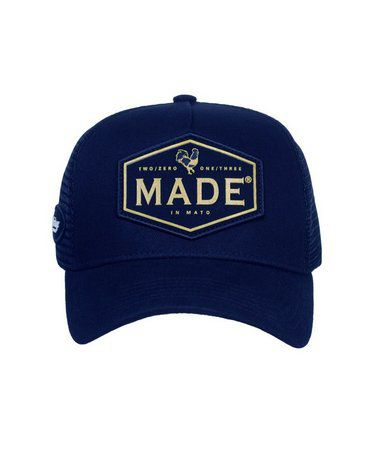 Boné Made In Mato Trucker Rooster Ouro Blue + 3 Brindes - B1496