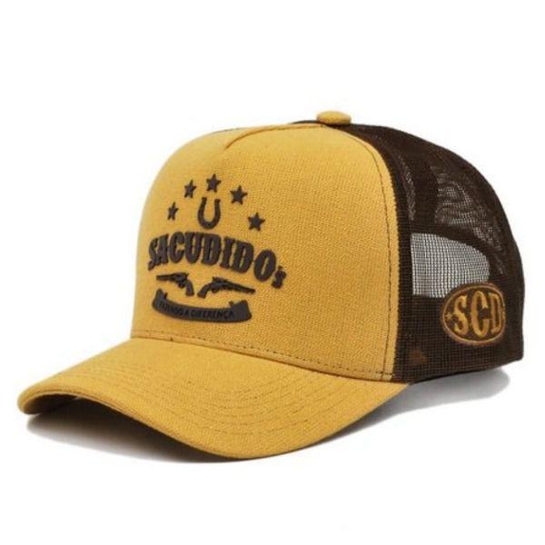 Boné Sacudido's Amarelo E Marrom + 3 Brindes - BN14SCD