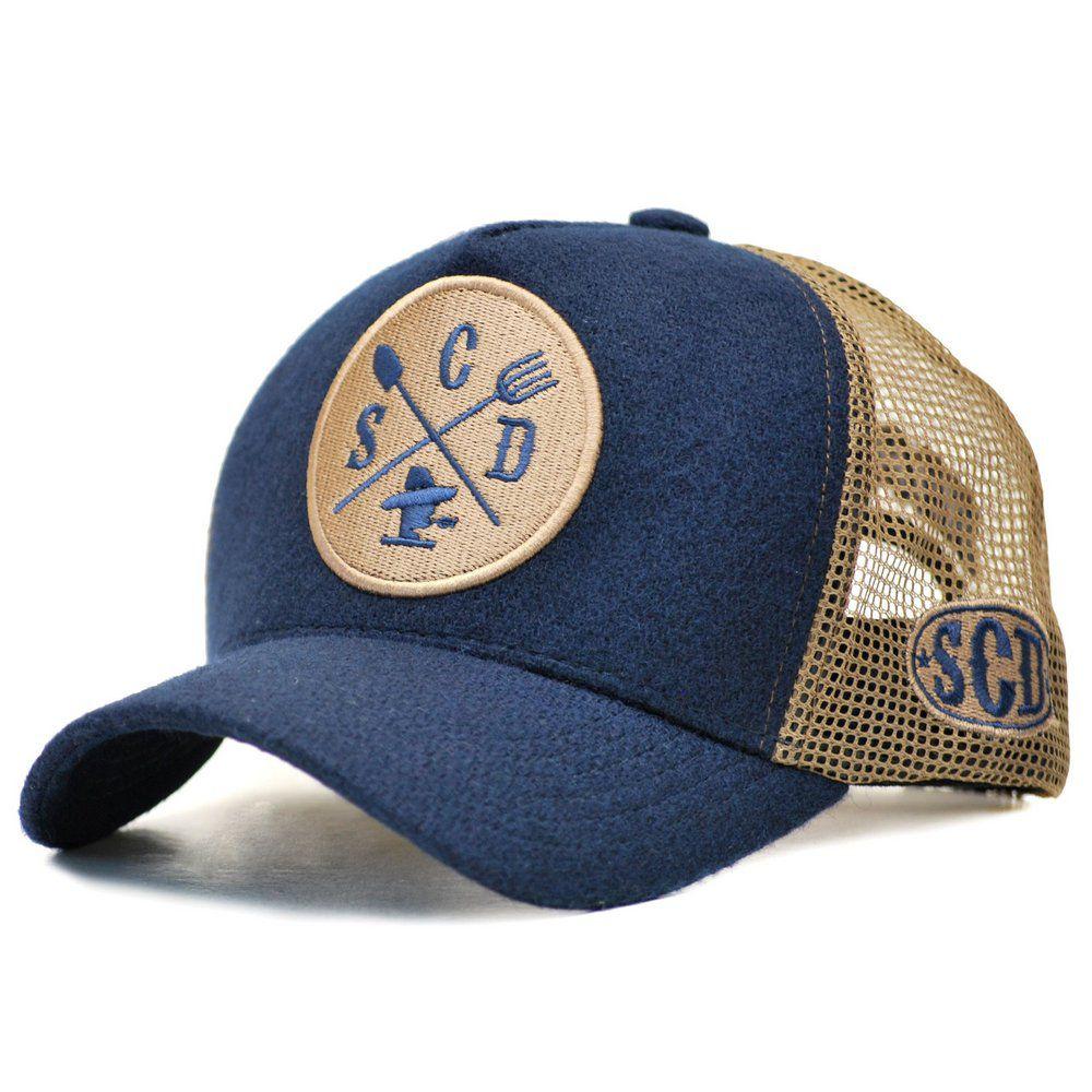 Boné Sacudido's Trucker Lã Azul e Tele Bege + 3 Brindes - BN47SCD