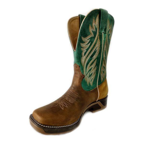 Bota Goyazes Couro Dallas Ocre/ Horse Verde