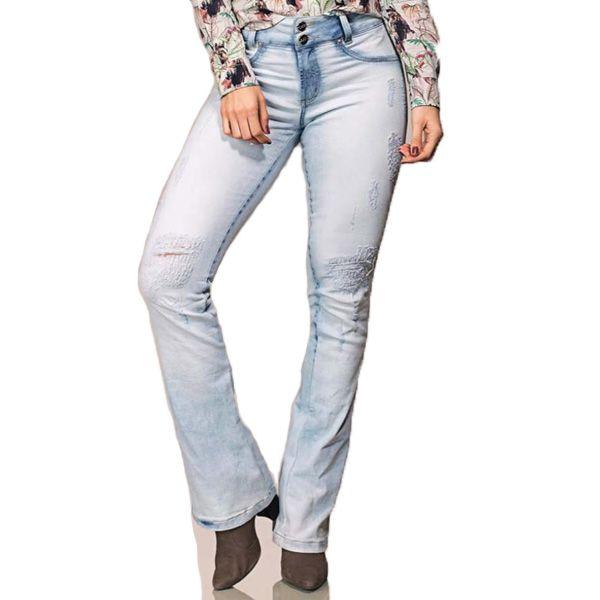 Calça Feminina Buphallos Bootcut Bordada Jeans Claro - 3540