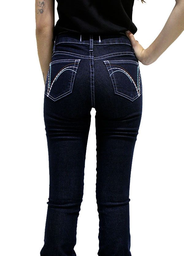 Calça Feminina Dock's Hot Pant Flare Bordada Tiffany Jeans - 2353