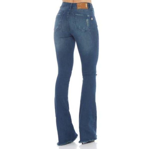 Calça Feminina Indulto Jeans Gold Alta Super Flare