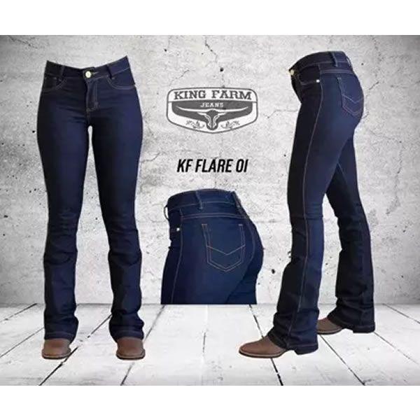 Calça Feminina King Farm Jeans Flare Amaciado