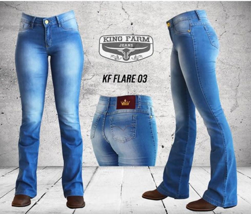 Calça Feminina King Farm Jeans Flare Delave