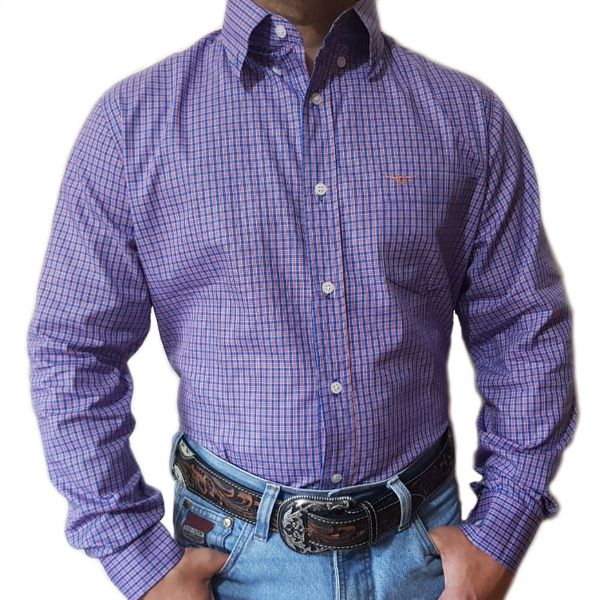 Camisa King Farm Xadrez Azul/ Laranja - CKF0005