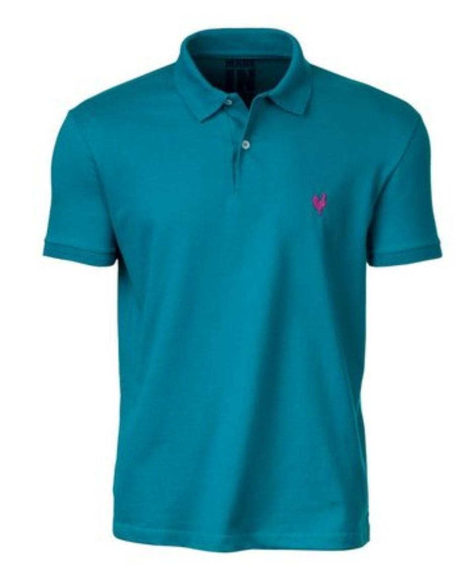 Camisa Polo Masculina Made In Mato Azul Turquesa - P2013