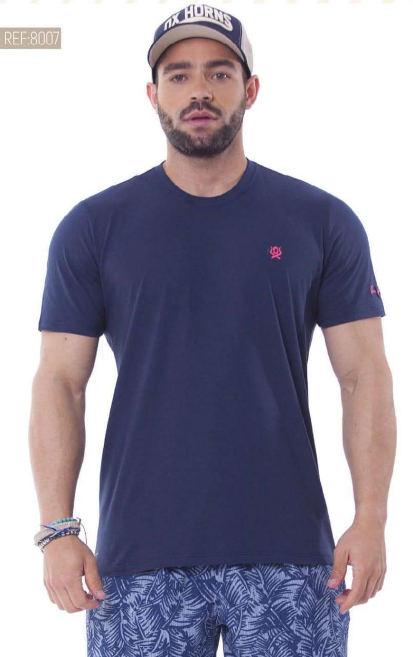 Camiseta Masculina Ox Horns Básica Azul - 8007