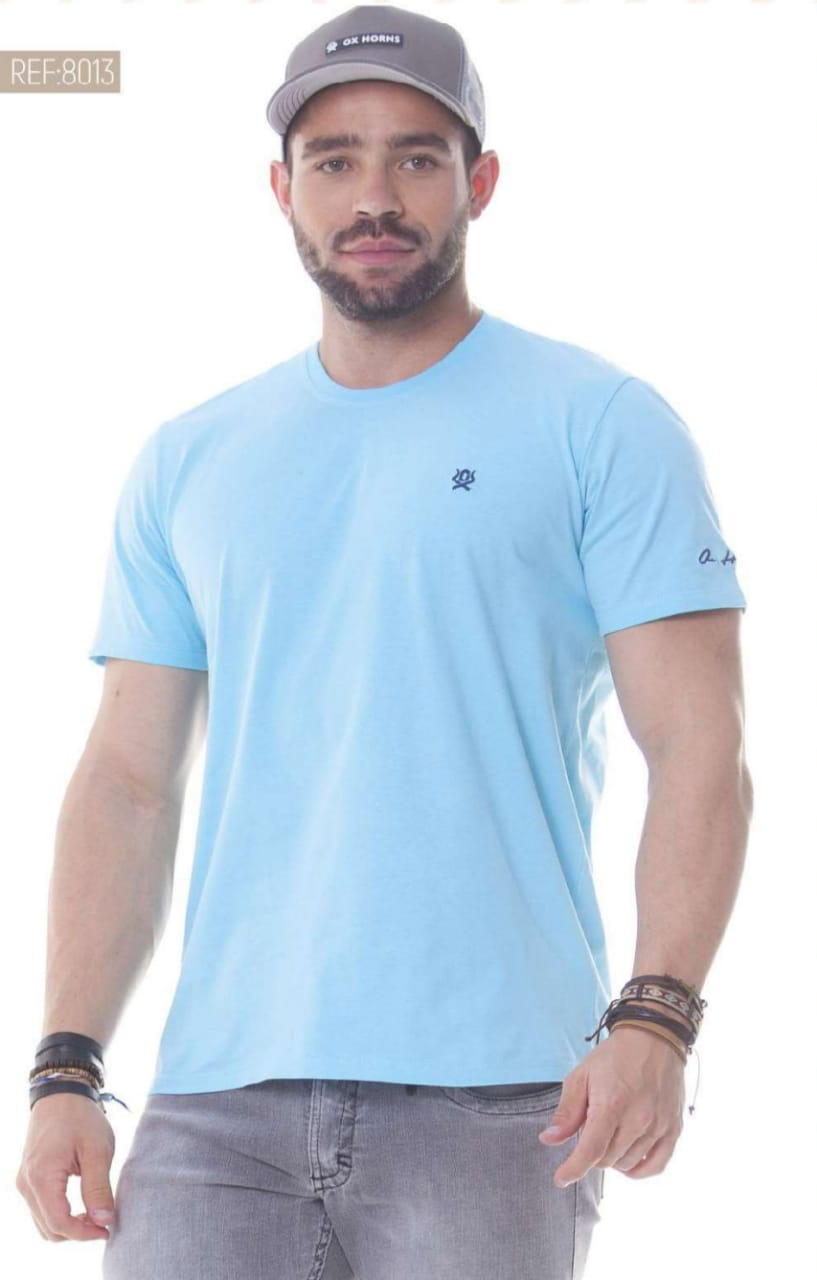 Camiseta Masculina Ox Horns Básica Azul Claro - 8013