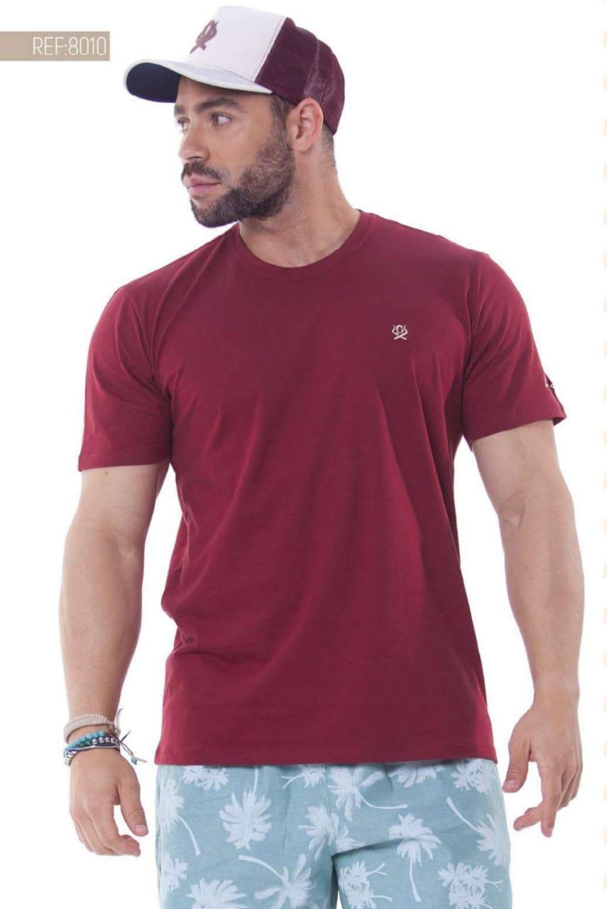 Camiseta Masculina Ox Horns Básica Bordô - 8010