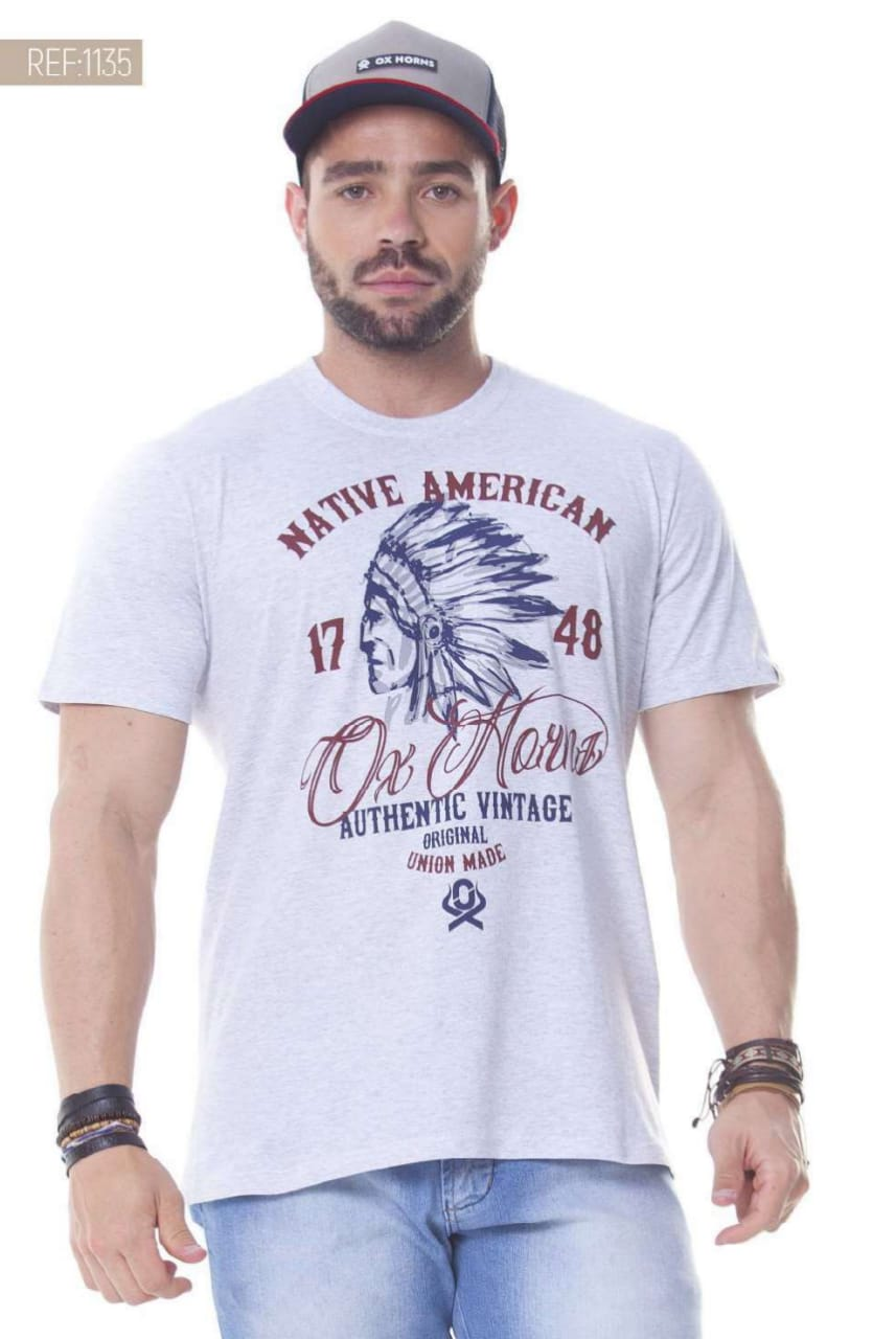 Camiseta Masculina Ox Horns Cinza Mescla - 1135