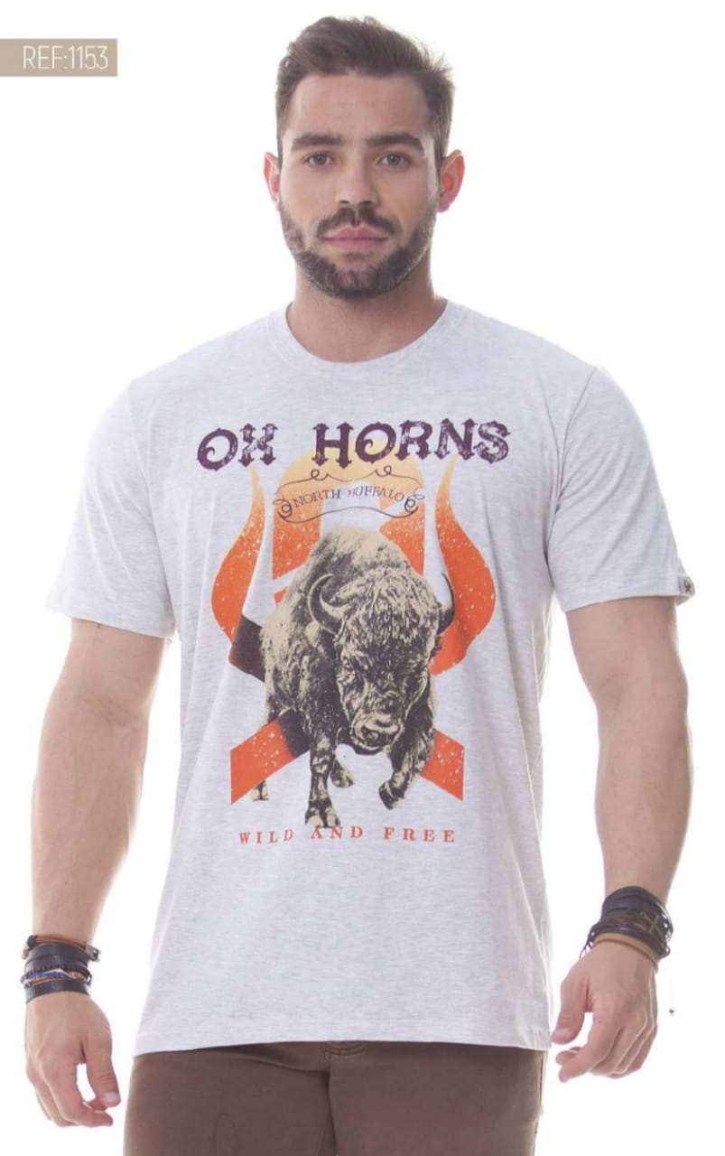 Camiseta Masculina Ox Horns Cinza North Buffalo - 1153