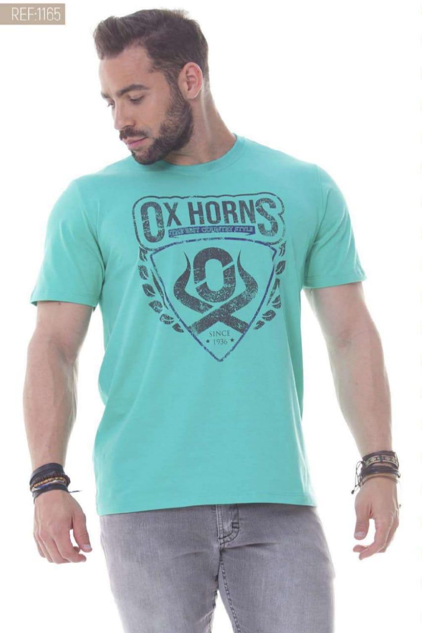 Camiseta Masculina Ox Horns Verde Água - 1165