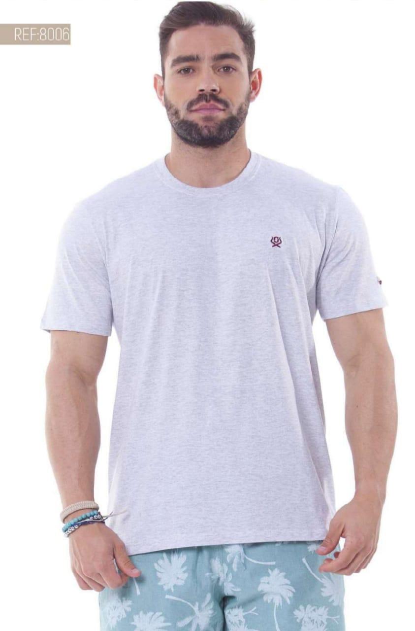Camiseta Masculina Ox Horns Básica Cinza Mescla Claro - 8006