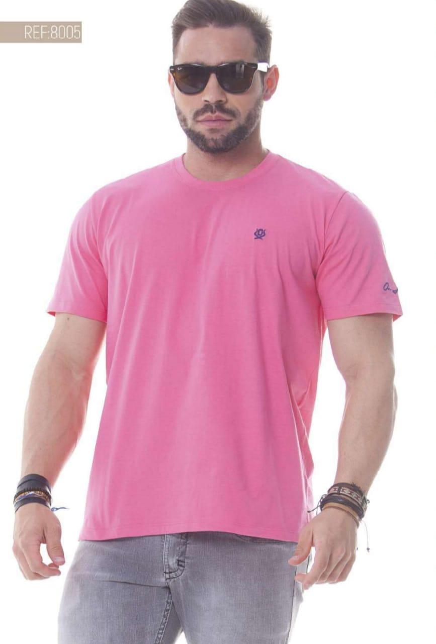 Camiseta Masculina Ox Horns Básica Rosa - 8005