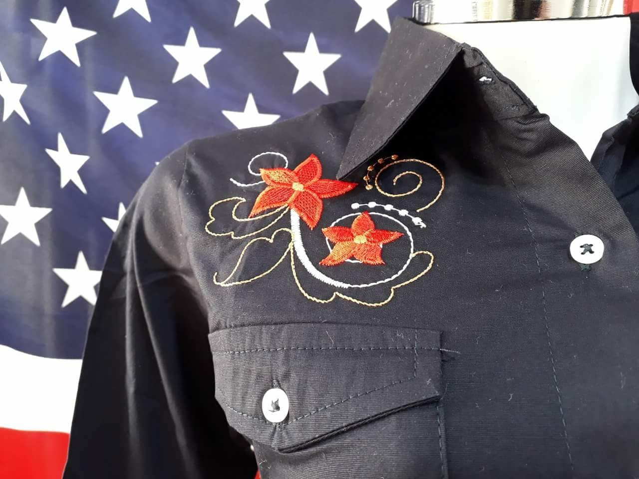 Camisete Feminino Apache Azul Marinho Com Bordado Cavalo